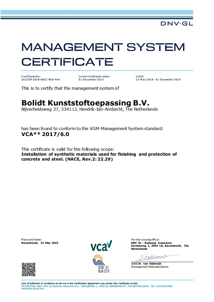 Certificaat-VCA** 2019 Engels